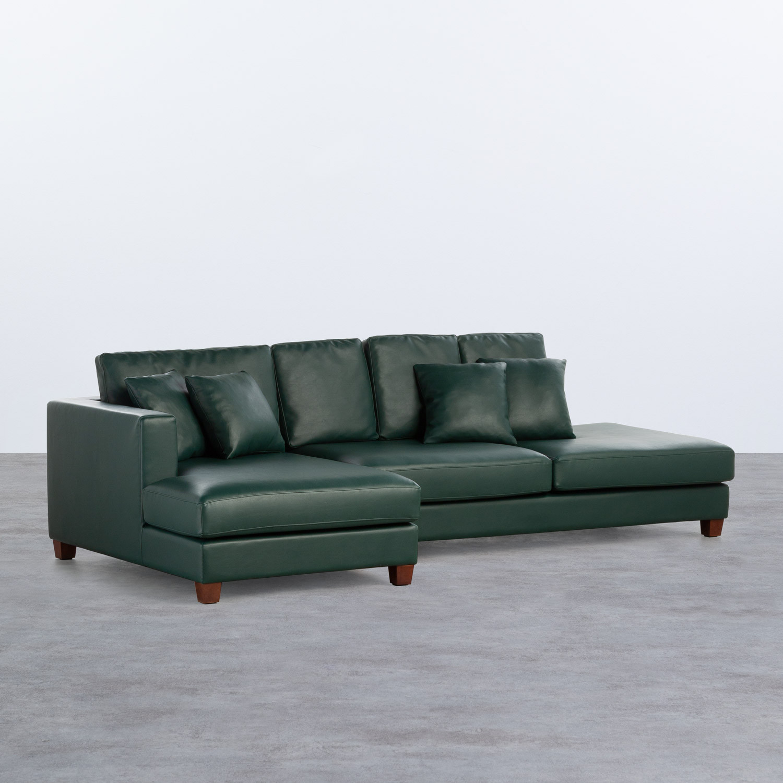 Sofa Chaiselongue links 4-Sitzer- aus Kunstleder Kesha, Galeriebild 1