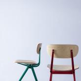 Esszimmerstuhl aus Holz und Stahl Scuola, Miniaturansicht 3