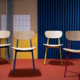 Esszimmerstuhl aus Holz und Stahl Scuola, Miniaturansicht 2