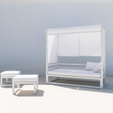 Balinesisches Sofa mit 2 Hockern aus Stoff und Aluminium Deira, Miniaturansicht 2