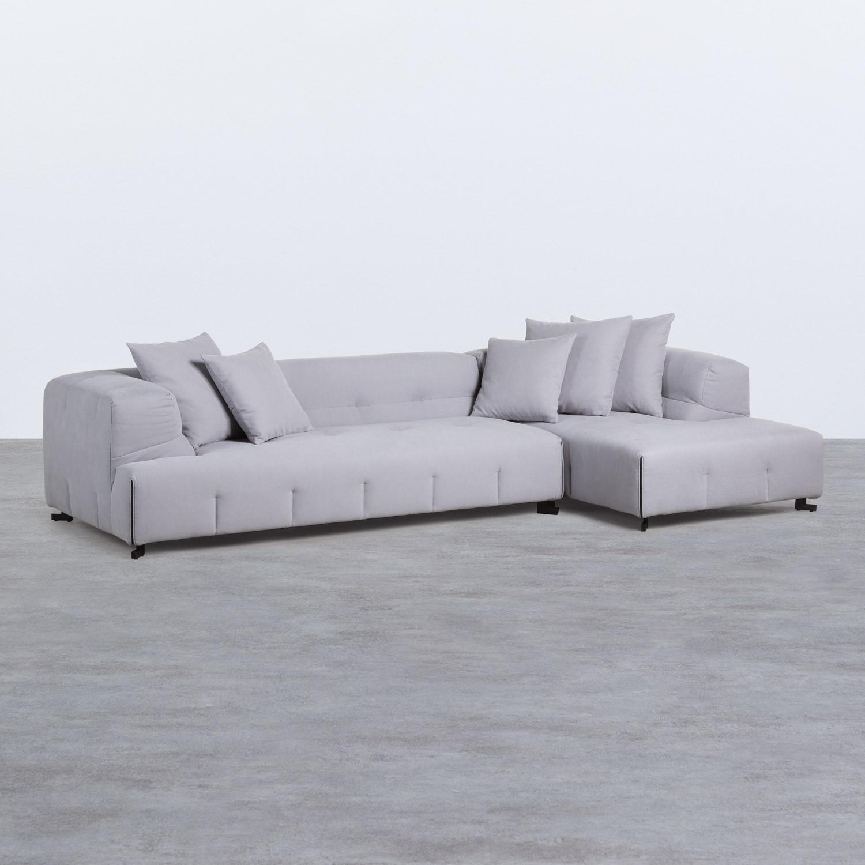 Sofa Chaiselongue rechts 4-Sitzer- aus Stoff Siblau, Galeriebild 1