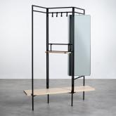 Garderobenständer mit Spiegel aus Metall und Holz (180x130 cm) Lumiel, Miniaturansicht 1