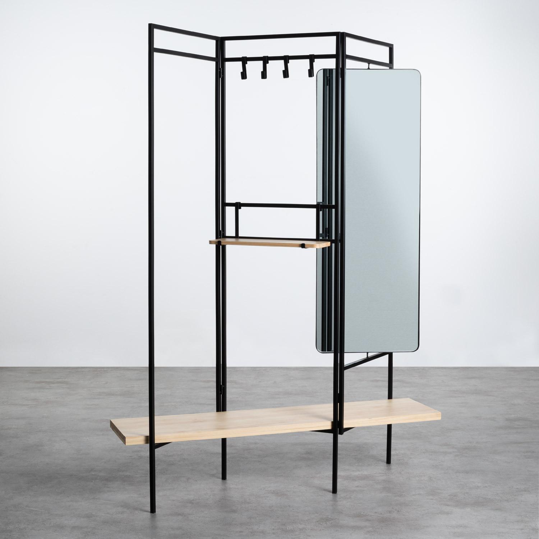 Garderobenständer mit Spiegel aus Metall und Holz (180x130 cm) Lumiel, Galeriebild 1