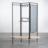 Garderobenständer mit Spiegel aus Metall und Holz (180x130 cm) Lumiel, Miniaturansicht 3