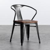 Esszimmerstuhl aus Stahl und Holz Industrial Wood, Miniaturansicht 1