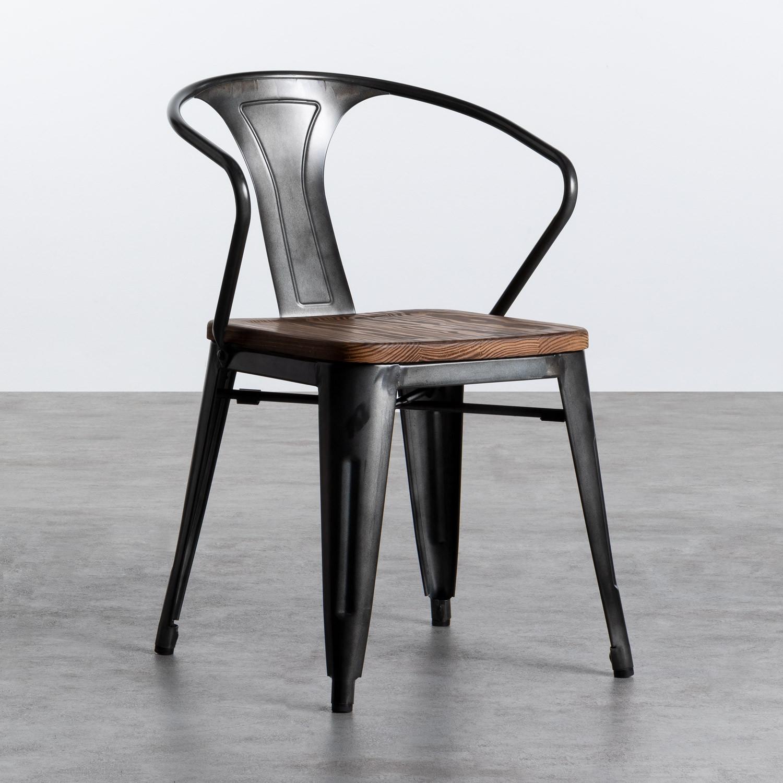 Esszimmerstuhl aus Stahl und Holz Industrial Wood, Galeriebild 1