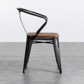 Esszimmerstuhl aus Stahl und Holz Industrial Wood, Miniaturansicht 3
