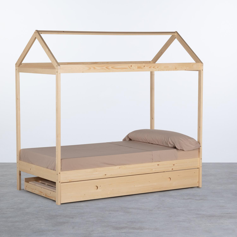 Bett Haus aus Holz mit ausziehbarem Gästebett Neus für Matratze 9cm, Galeriebild 1