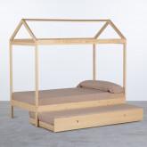 Bett Haus aus Holz mit ausziehbarem Gästebett Neus für Matratze 9cm, Miniaturansicht 2