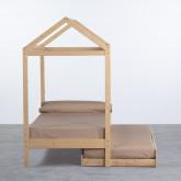 Bett Haus aus Holz mit ausziehbarem Gästebett Neus für Matratze 9cm, Miniaturansicht 3