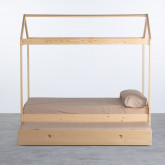 Bett Haus aus Holz mit ausziehbarem Gästebett Neus für Matratze 9cm, Miniaturansicht 4