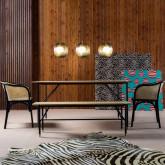 Esszimmerstuhl aus Holz und Natur-Rattan Fablem, Miniaturansicht 2