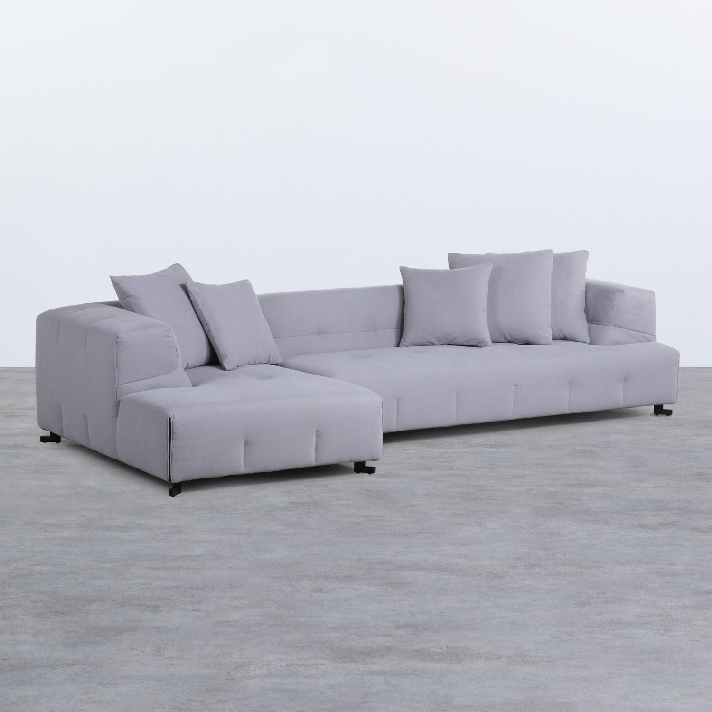 Sofa Chaiselongue links 4-Sitzer- aus Stoff Siblau, Galeriebild 1