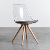 Esszimmerstuhl aus Polycarbonat und Holz Hardwood Stella Transparent, Miniaturansicht 1