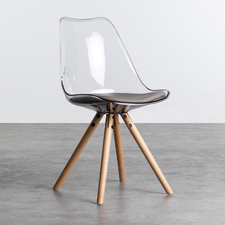 Esszimmerstuhl aus Polycarbonat und Holz Hardwood Stella Transparent, Galeriebild 1