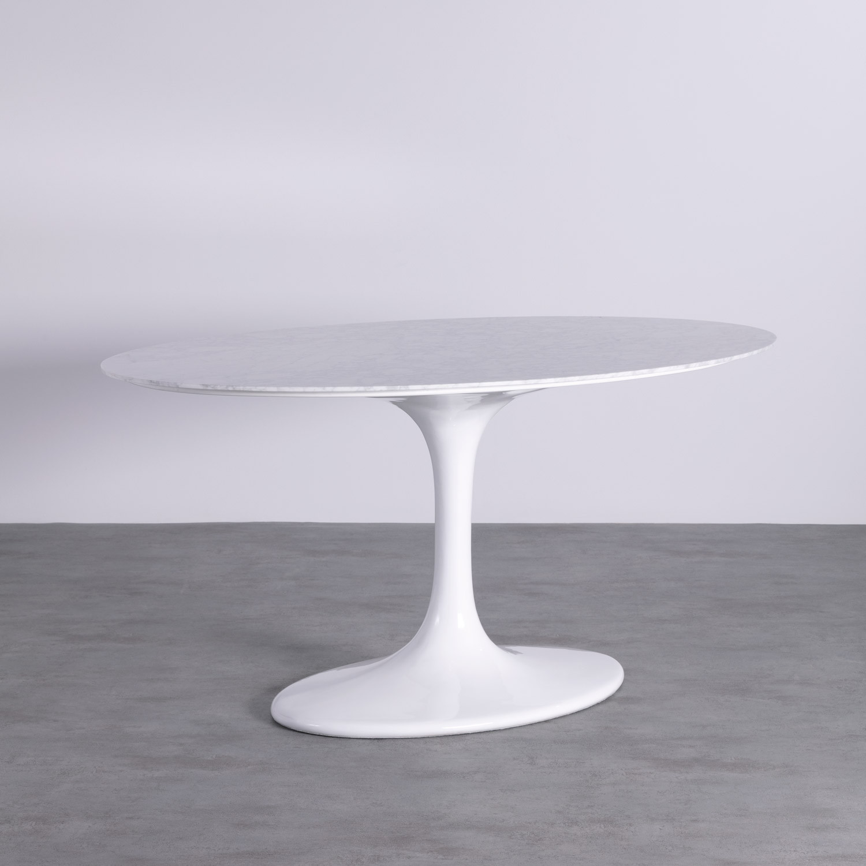Ovaler Esstisch aus Marmor und Aluminium (160x100 cm) Uva Freya, Galeriebild 1