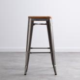 Hoher Hocker aus galvanisiertem Stahl Industrial Wood (76 cm), Miniaturansicht 2