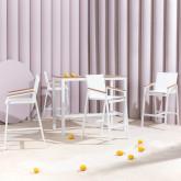 Hoher Outdoor Tisch Korce aus Holz und Stahl (120x70 cm), Miniaturansicht 2