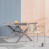 Ausziehbarer Esstisch aus Aluminium und Glas (160-210x100 cm) Orson, Miniaturansicht 3