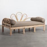 Sofá de 3 Plazas Lounge de Ratán Natural y Tela Evans, imagen miniatura 1