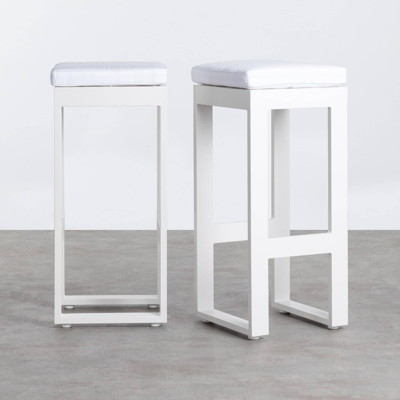 Conjunto 2 Taburetes Altos de Exterior de Aluminio y Tela Belar, imagen de galería 1