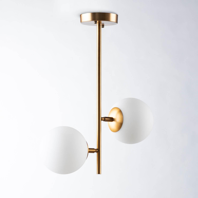 Lámpara de Techo Doble De Acero y Cristal Sipre, imagen de galería 1