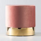 Puff Redondo de Terciopelo y Metal Velluto Luxe, imagen miniatura 1