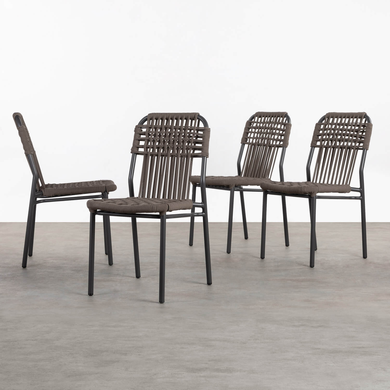 Pack 4 Sillas de Exterior de Aluminio y Textil Alorn, imagen de galería 1