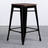 Taburete Bajo en Acero Industrial Wood Edición Negro (59 cm), imagen miniatura 1