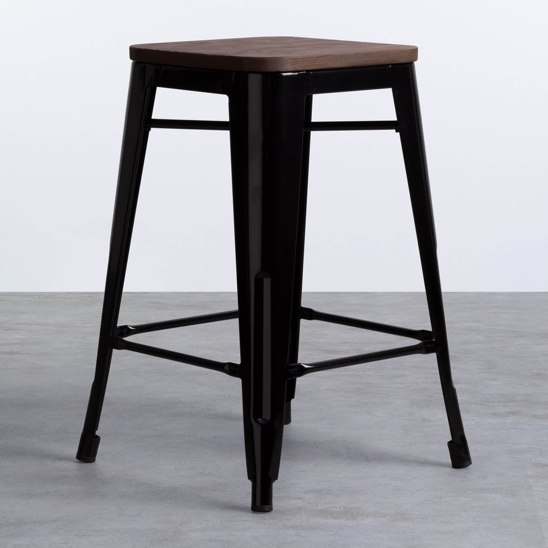 Taburete Bajo en Acero Industrial Wood Edición Negro (59 cm), imagen de galería 1