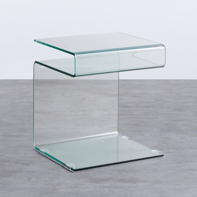 Mesa Auxiliar Cuadrada en Cristal (42x38 cm) Erox, imagen de galería 1
