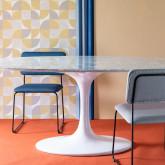 Mesa de Comedor Ovalada en Mármol y Aluminio (160x100 cm) Uva Freya, imagen miniatura 2