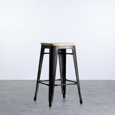Taburete Alto en Acero Galvanizado Mate Industrial Wood (67 cm)
