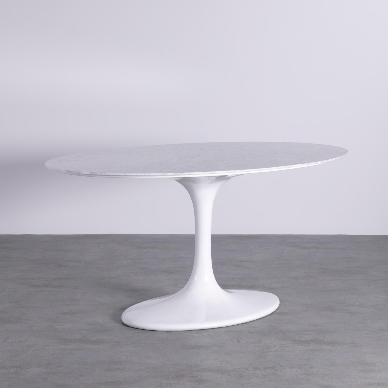 Mesa de Comedor Ovalada en Mármol y Aluminio (160x100 cm) Uva Freya, imagen de galería 1