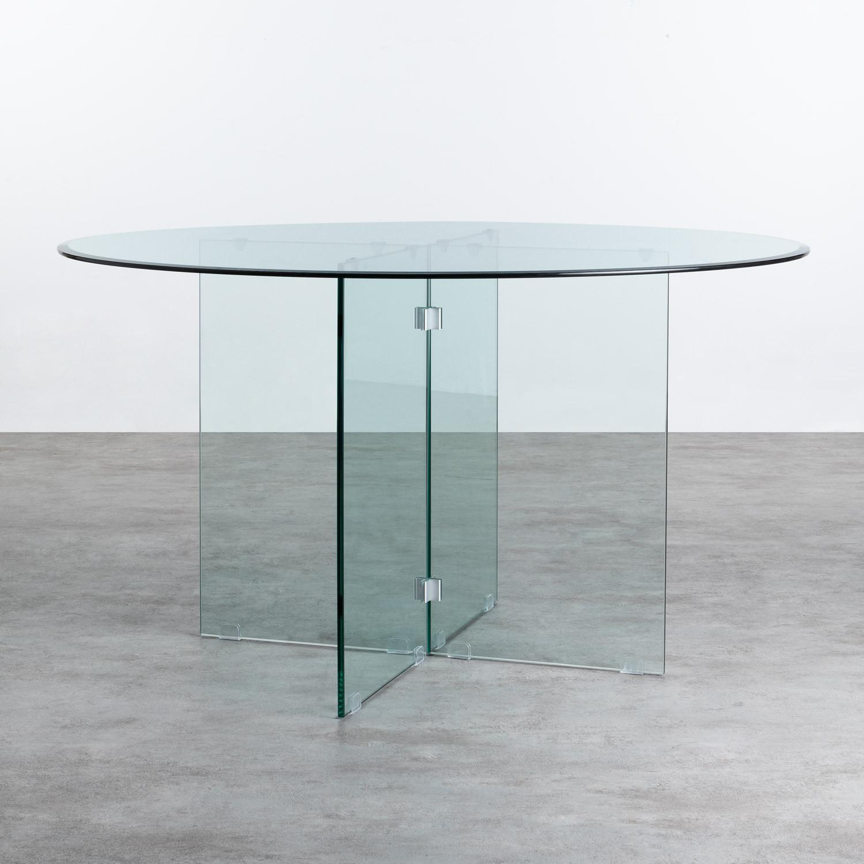 Mesa de Comedor Redonda en Cristal Templado (Ø137 cm) Vidre Round, imagen de galería 1