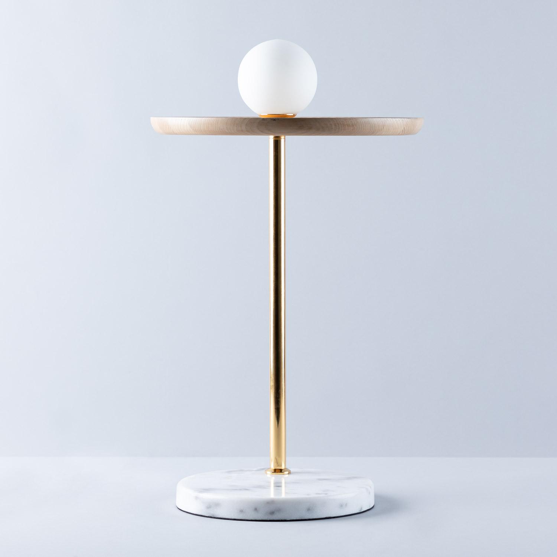 Lámpara de Pie en Mármol y Madera Glams, imagen de galería 1
