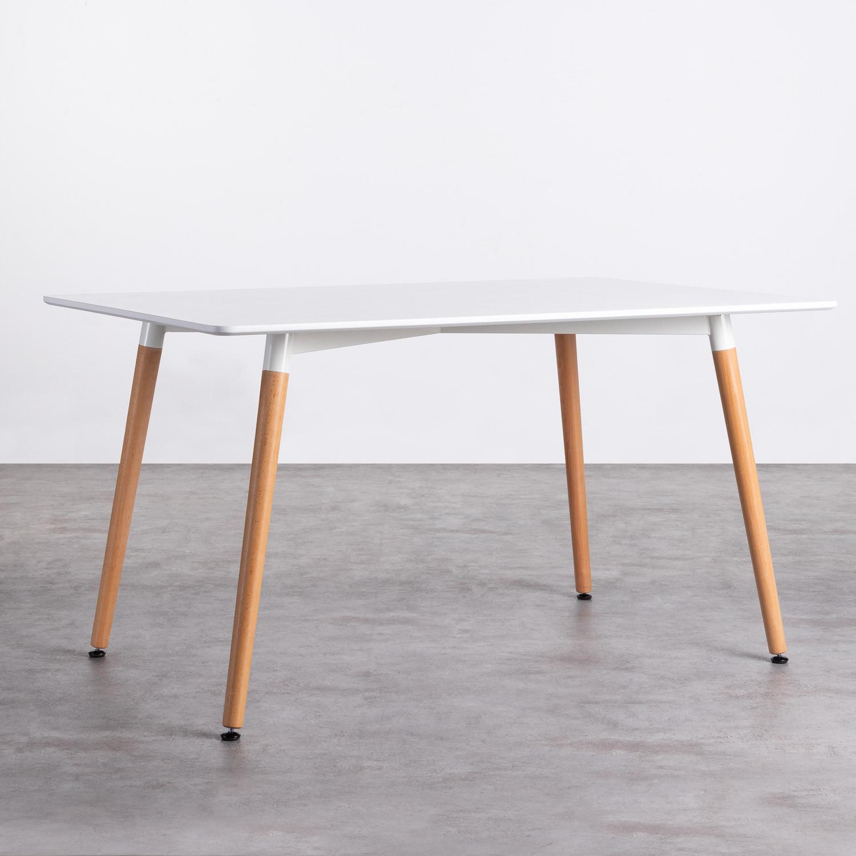 Mesa de Comedor Rectangular en MDF y Madera de Haya (140x90 cm) Blanc, imagen de galería 1