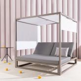 Cama Balinesa Reclinable de Tela y Aluminio Bora, imagen miniatura 2