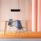 Table de Salle à manger Rectangulaire en Métal et Verre (150x90 cm) Bohe, image miniature 2
