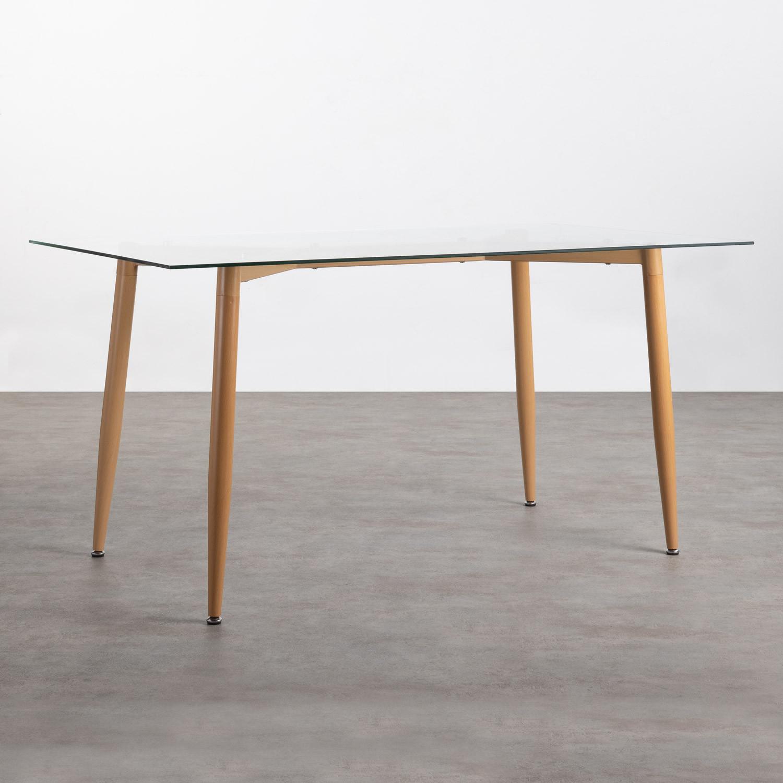 Table de Salle à manger Rectangulaire en Métal et Verre (150x90 cm) Bohe, image de la gelerie 1
