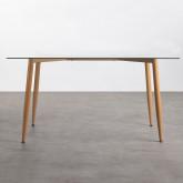 Table de Salle à manger Rectangulaire en Métal et Verre (150x90 cm) Bohe, image miniature 3