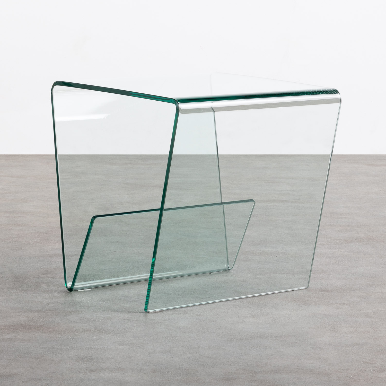 Table d'Appoint Carrée avec Porte-revues en Verre (50x50 cm) Vidre Line, image de la gelerie 1