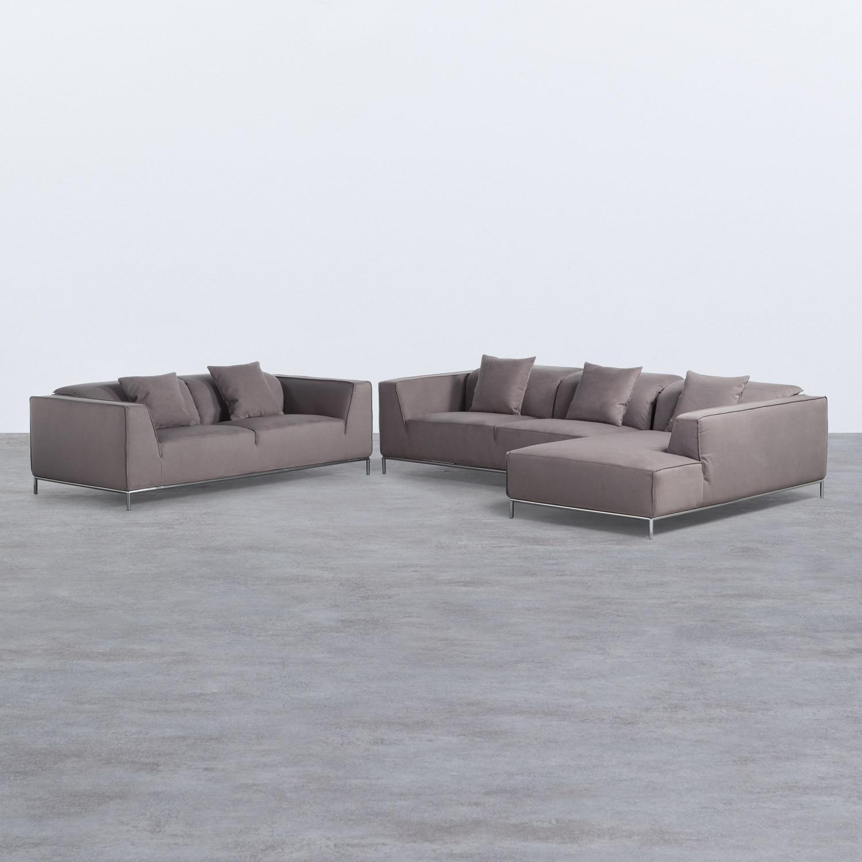 Canapé d'angle à Droite et Canapé 3 places en Tissu Rochi, image de la gelerie 1