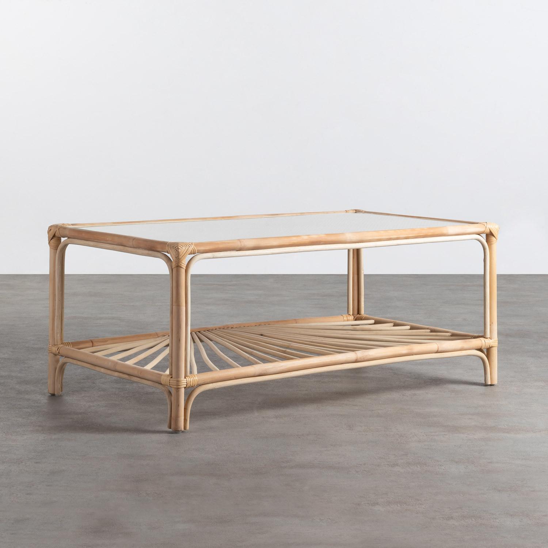 Table Basse Rectangulaire en Rotin Naturel (110x60 cm) Klaipe, image de la gelerie 1