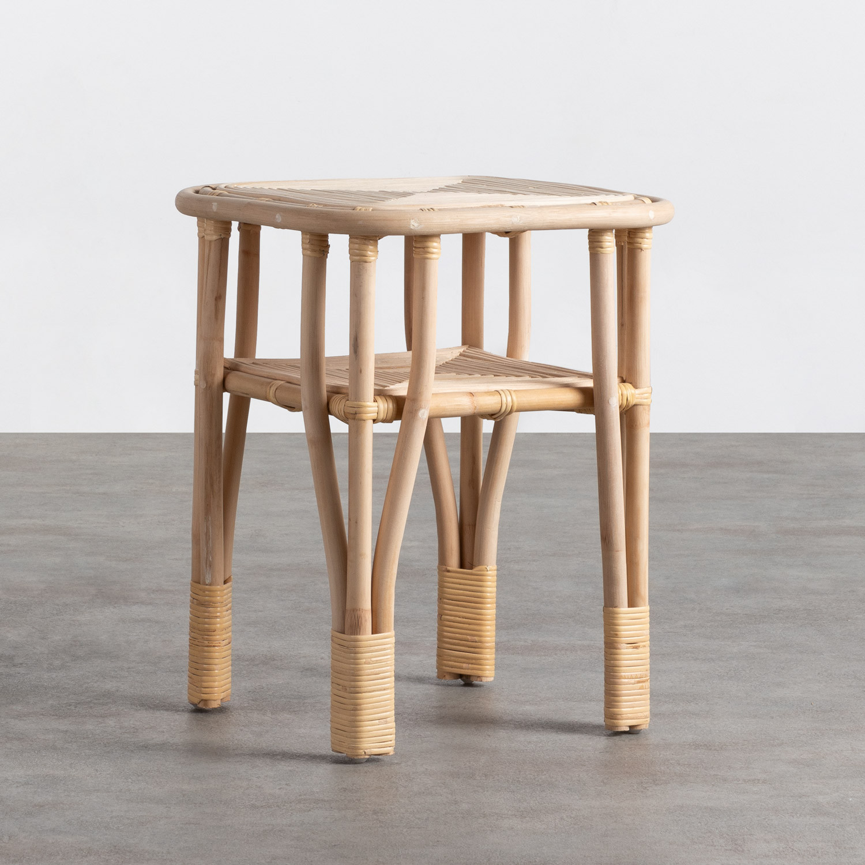 Table d'Appoint Carrée en Rotin Naturel (40x40 cm) Kida, image de la gelerie 1