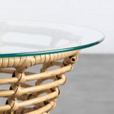 Table d'Appoint Ronde en Rotin Synthétique et Verre (45x45 cm) Balar, image miniature 5