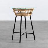 Table d'Appoint Ronde en Rotin Synthétique et Verre (45x45 cm) Balar, image miniature 1