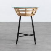Table d'Appoint Ronde en Rotin Synthétique et Verre (45x45 cm) Balar, image miniature 3