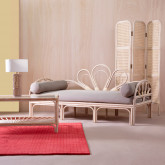 Canapé-lounge 3 places en Rotin Naturel et Tissu Evans, image miniature 2