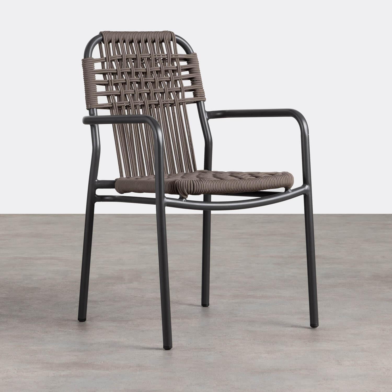 Chaise d'Extérieur avec accoudoirs en Aluminium et Tissu Alorn, image de la gelerie 1